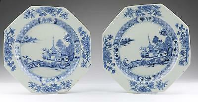 Pair Antique 18thC Chinese Qing Qianlong Blue & White Octagonal Porcelain Dishes