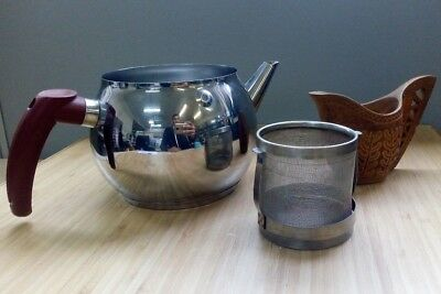 Capsule Kettle Antique *No Lid* Handmade Wood Jug Carved Tea Strainer Stainless