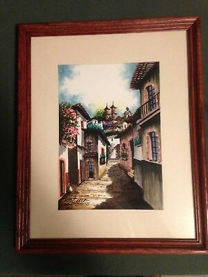 ORIGINAL SIGNED & FRAMED  WATERCOLOR PAINTING STREETS PORTUGAL or SPAIN