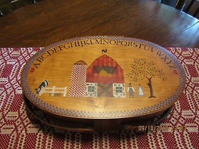Folk Art Amish Oval Sewing Box With Handles For Your Misc. Sewing Needs