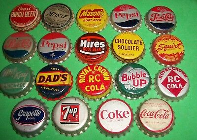 (19) Diff Re-Flared Used Pepsi/RC/7-UP/Hires/Coke Cork Lined Soda Bottle Caps