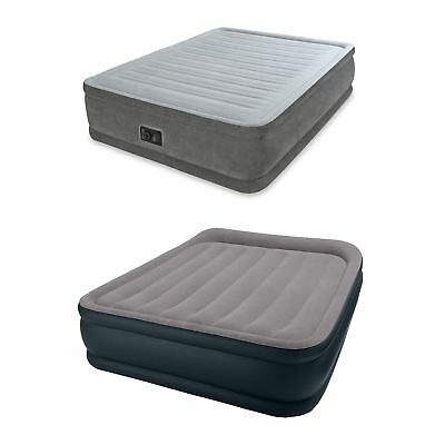 Intex Queen Comfort Plush Airbed + Queen Pillow Rest Airbed with Built-In Pump