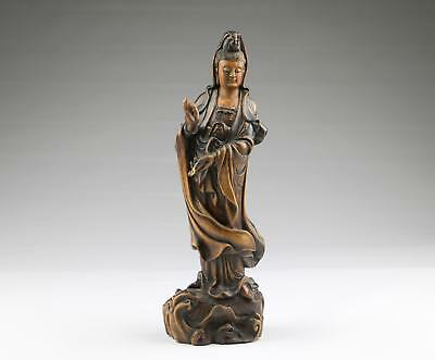 Large 19/20thC Chinese Qing Boxwood Carved Guanyin Sculpture Standing Figure