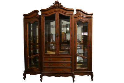 Antique Carved French Curio Cabinet, 4 Door, Over 8FT Tall!