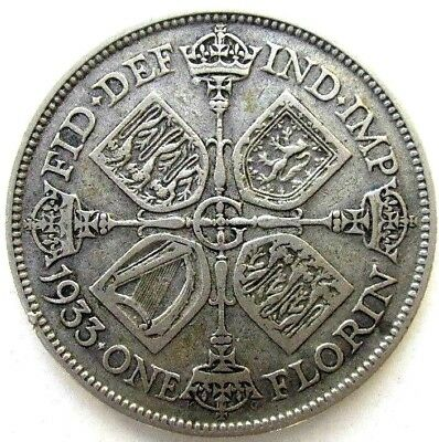 Great Britain Uk Coins, One Florin 1933, George V, Silver 0.500