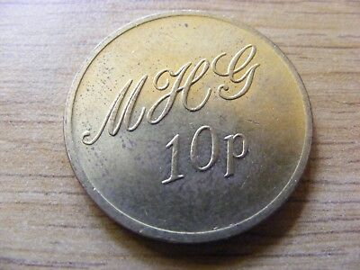 M H G 10 Pence Token - Nice Condition - 27mm Dia