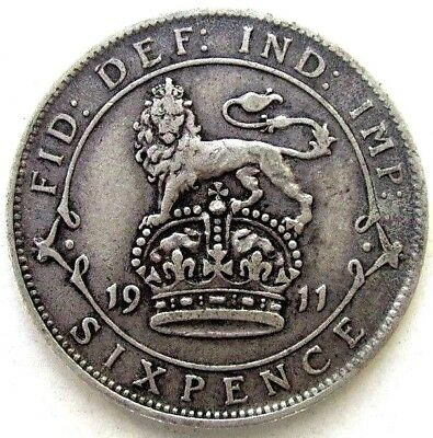 Great Britain Uk Coins, Sixpence 1911, George V, Silver 0.925
