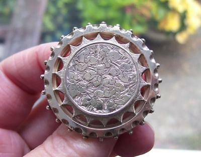 Fine Large Antique Victorian Solid Silver Aesthetic Movement Sunburst Brooch Pin
