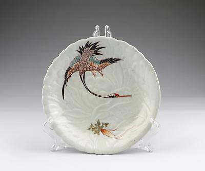 Rare Antique 17thC Edo Japanese Kakiemon Type Moulded Porcelain Crane Dish