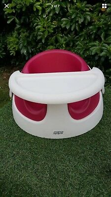 Mamas & Papas white & rasberry on-the -go snug baby booster floor seat with tray