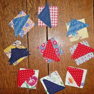 Vintage Cut Lot of 9 SQUARE in a SQUARE/ BOXES Quilt Blocks  Feedsacks TO FINISH