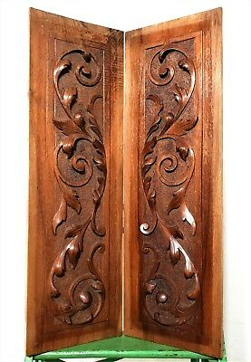 Pair highly carved scroll leaves panel Antique french wooden salvaged paneling