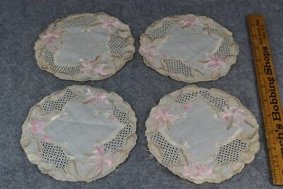 doilies cotton silk lace Victorian 4 matching 6 in. white pin tan antique