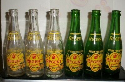 (6)  2 Diff all dated 1969/74 Regent Pittsburgh 18 Pa 7oz ACL Soda Bottles