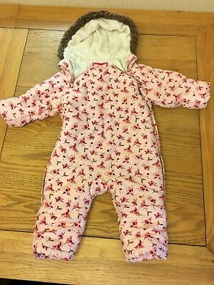 Ted baker Baby Girls Coat Snowsuit Age 9-12 Months Pink Roses Warm Cosy Fleece