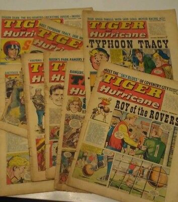 TIGER and HURRICANE comic LOT 1968 X 8 ISSUES - Saber, Typhoon Tracy etc.