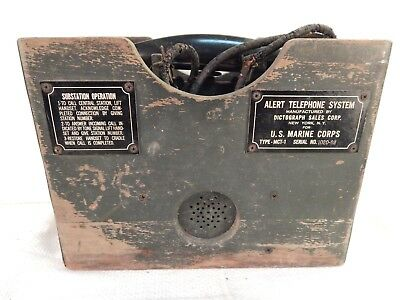 WWII U.S. Marine Corps ALERT TELEPHONE SYSTEM, Field Telephone in Wooden Case