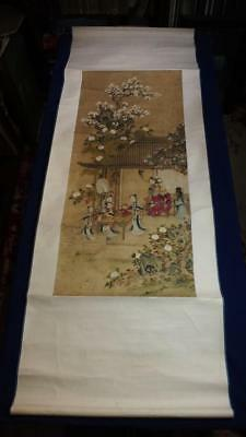 ANTIQUE CHINESE SCROLL PAINTING, OFFICIAL with ATTENDANTS at TABLE, NO RESERVE