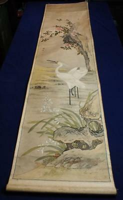 ANTIQUE CHINESE SCROLL PAINTING attrib. ZHOU YUSHI, STORKS & FLOWERS, NO RESERVE