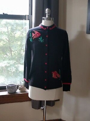 Vintage 1950s Lee Collins Dalton 100% Cashmere Embroidered Fish Cardigan Sweater