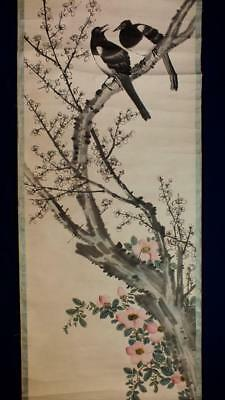 ANTIQUE CHINESE SCROLL PAINTING, BIRDS & BLOSSOM with FLOWERS, 146 x 39cm NO RES