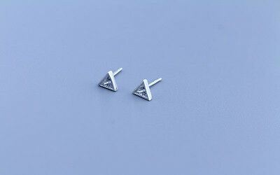 Rhodium Plated 925 Sterling Silver Small Triangle CZ Stud Earrings Gift Bag