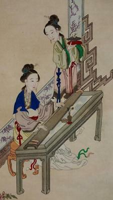 ANTIQUE CHINESE SCROLL PAINTING, LADIES with MUSICAL INSTRUMENT GUZHENG, NO RES