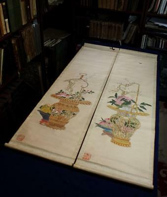 ANTIQUE CHINESE SCROLL PAINTINGS x2 BASKETS WITH FLOWERS WANG ZHIGUAN NO RES #2