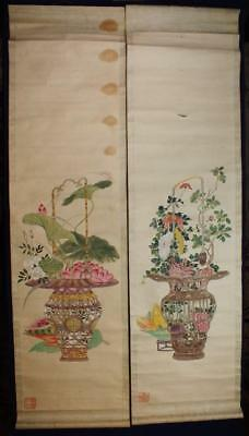 ANTIQUE CHINESE SCROLL PAINTINGS x2 BASKETS WITH FLOWERS WANG ZHIGUAN NO RESERVE