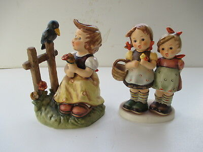 #55 Hummel Figurine #371 Daddy's Girls 1964  & #405 Sing with me 1974 TM#6