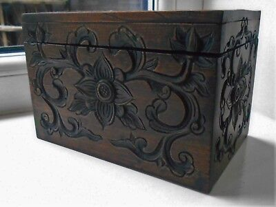 Beautiful Small Antique Hinged Carved Wooden Box, Black Forest