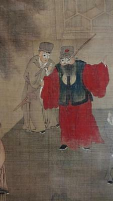 ANTIQUE CHINESE SCROLL PAINTING on CLOTH, LITERARY SCENE with FIGURES, NO RES