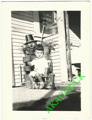 1930s Two Vintage Photos HALLOWEEN PUMPKINS & JAPANESE BOY TODDLER Front Porch G