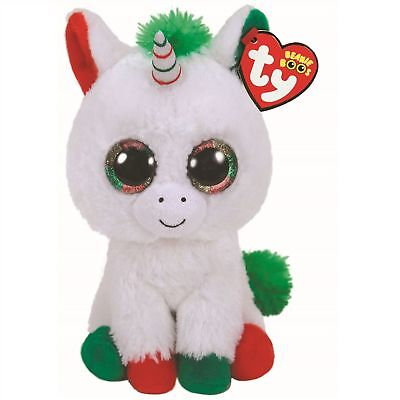 """Ty Beanie Boos - CANDY CANE the 6"""" Christmas Unicorn ~ 2018  NEW ~ IN STOCK"""