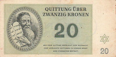 20 Krone Very Fine German Concentration Camp Note From Theresienstadt 1943!
