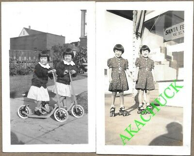 1930s 15 Photos Japanese American TWIN GIRLS WITH TOYS Tricycles Skates Scooters