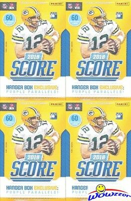 (4) 2018 Score Football HUGE EXCLUSIVE Factory Sealed HANGER Boxes-240 Cards!