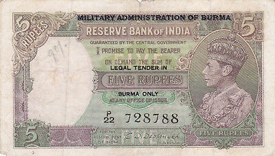 5 Rupees Fine Banknote From British Burma/military Administration 1945!pick-31!!