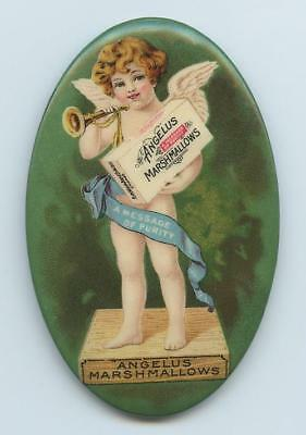 """18-1900s OVAL CELLULOID ADVERTISING MIRROR """"ANGELUS MARSHMALLOWS""""  ANGEL w/ HORN"""