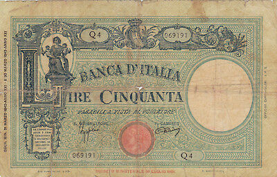 50 Lire Vg Banknote From Faschist Italy 1943!pick-64