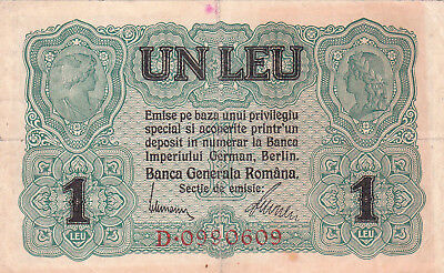 1 Leu Vf Banknote From German Occupied Romania1916!pick-M3!