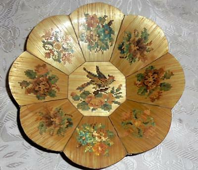 BEAUTIFUL 19th CENTURY VICTORIAN STRAW WORK DISH, ROSES, BIRD