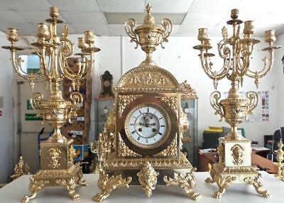 Superb XL Antique 19thc French S.Marti Gilt Bronze Mantle Clock Garniture Set