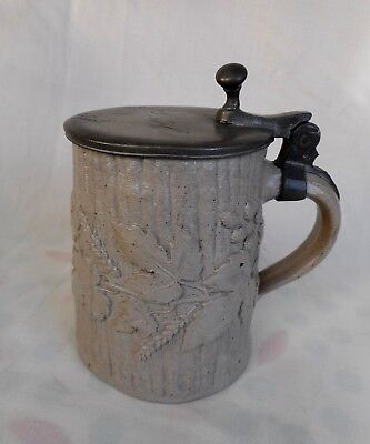 Antique Stoneware Beer Stein With Pewter Lid - Relief Moulded Barley And Hops