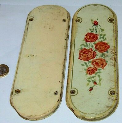 PAIR ANTIQUE PRESSED STEEL DOOR FINGER PLATE 1930s ROSES