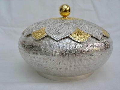 Superb Contemporary Eastern Hand Chased Solid Silver Bowl & Cover.