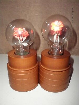 Pair Vintage small Wood Lamps W/ Aerolux Style Neon Flower Light Bulbs
