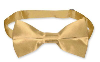 BIAGIO 100% SILK BOWTIE Solid GOLD Color Men's Bow Tie for Tuxedo or Suit