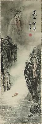 Chinese Hanging Scroll Mountain Gorge Landscape Painting On Silk & Paper