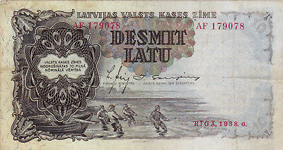 10 Latu Very Fine  Banknote From Latvia 1938!pick-29!